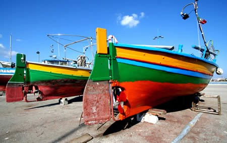Fish boats in the boat yard of Alghero