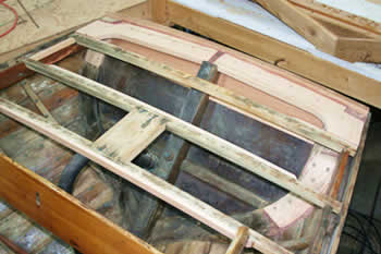 Were she had rot, a  new top plank on the transom and the new partial framework and deck beam